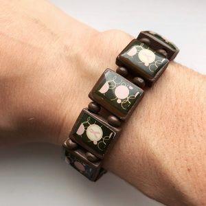 Brown wooden & pink Breast Cancer ribbon bracelet